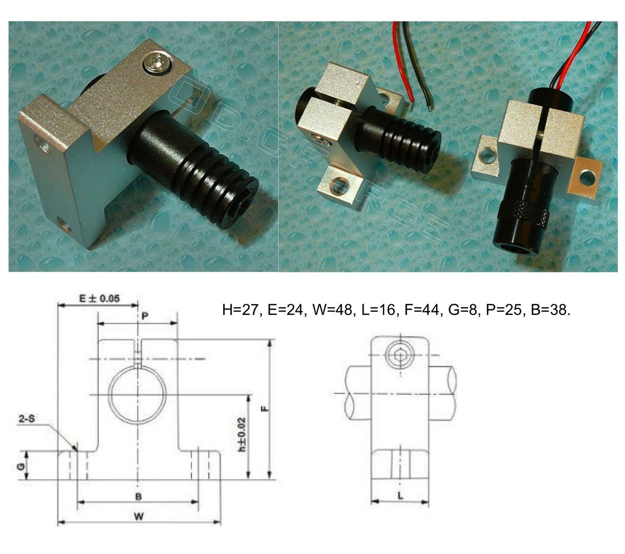 Alloy Module Holder / Heatsink (16mm)