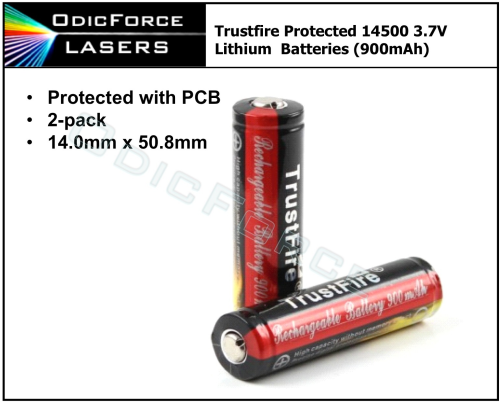 14500 Trustfire 3.7V Protected Battery 900mAh (2-pack)