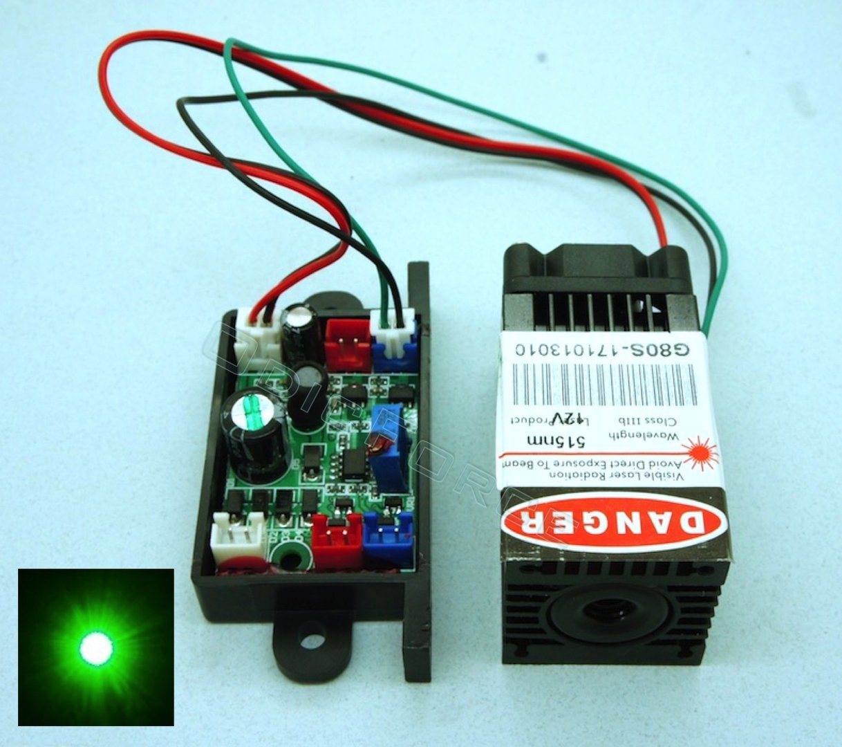 60-80mW  Compact 520nm Direct Diode Green Laser Module with TTL Modulation  G80S