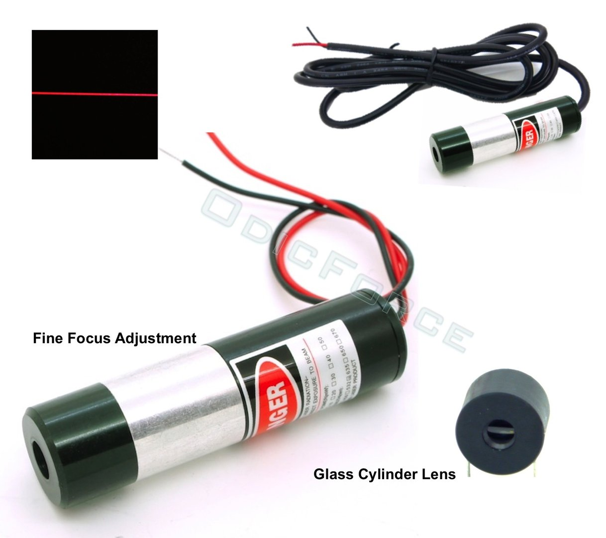 Precision Adjustable Focus 635nm Bright Red Line Laser Modules  5mW (16mm)