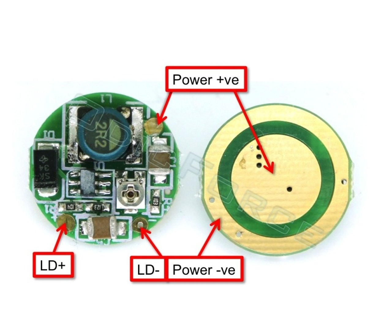 0 - 1600mA 17mm Circular Boost Driver Board for 405 and 445nm Laser Diodes