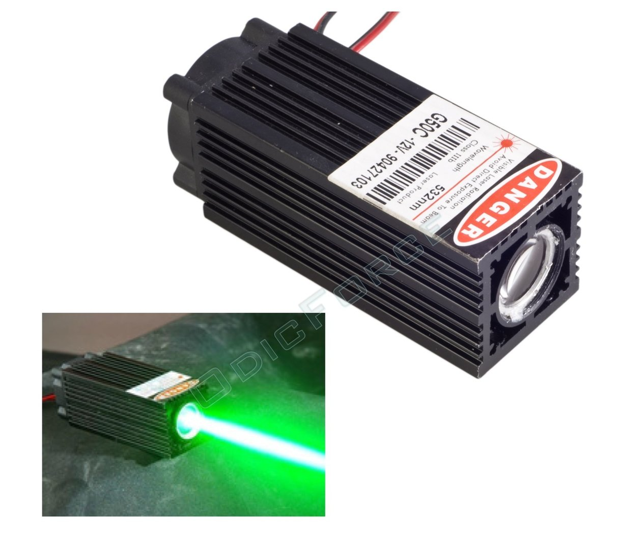 50-80mW Wide Beam (15mm)  532nm Green Laser Module with TTL Modulation and Fan Cooled Laser Head (12V) (G50C)