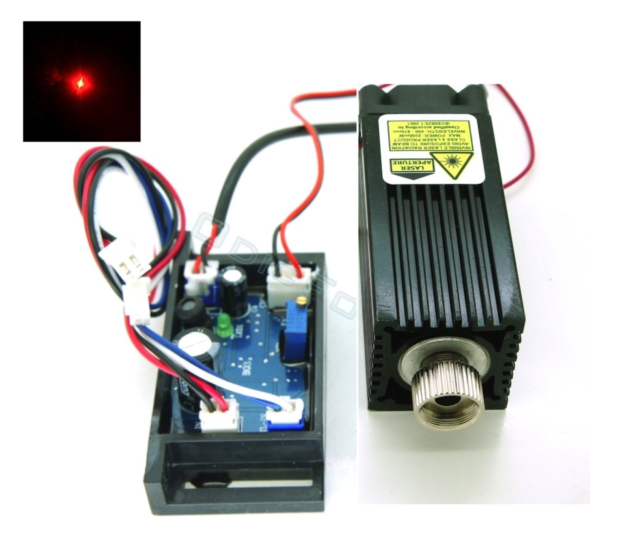 Component Bundle for 638nm (Red) 700-1000mW Laser Module with TTL and Adjustable Focus