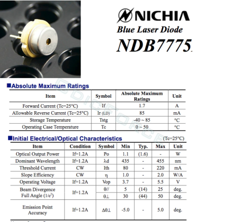 Nichia 1.6W+ 450nm Blue Laser Diode (9mm) NDB7775 NDB7875 (with tinned pins)
