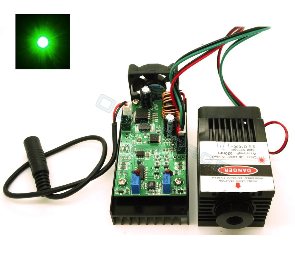 1000mW 520nm Direct Diode Green Laser Module with Adjustable Focus and TTL Modulation  (12V)