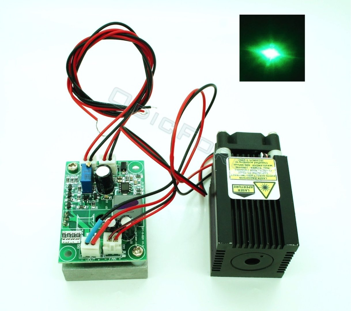 1000mW 520nm Direct Diode Green Laser Module with TTL Modulation (12V)