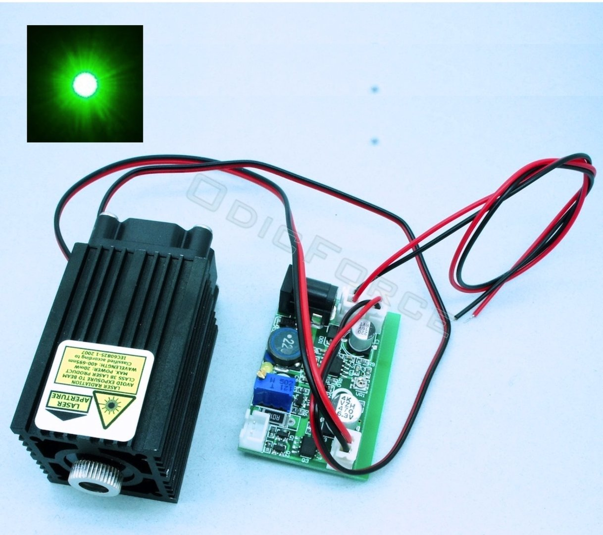 10mW  515-520nm Direct Diode Green Laser Module (Adjustable Focus) with TTL Modulation  (12V)