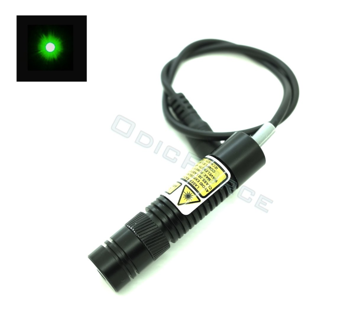 5mW Green (520nm) Locking Focus Direct Diode Laser Module Dot Pattern (16mm, 3-5V)