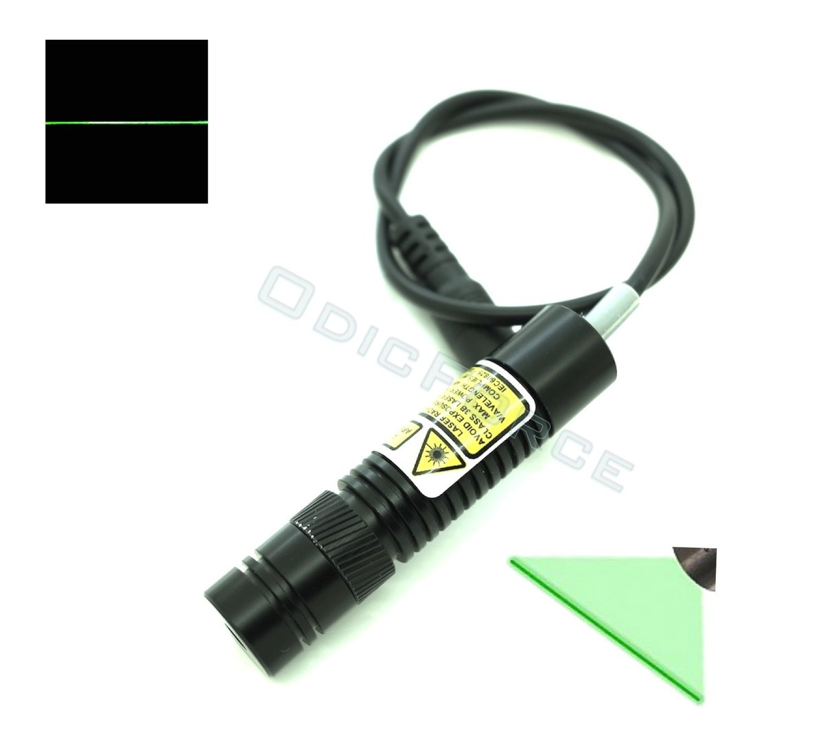10mW Green (520nm) Adjustable Locking Focus Direct Diode Module Line Pattern (16mm, 3-5V)