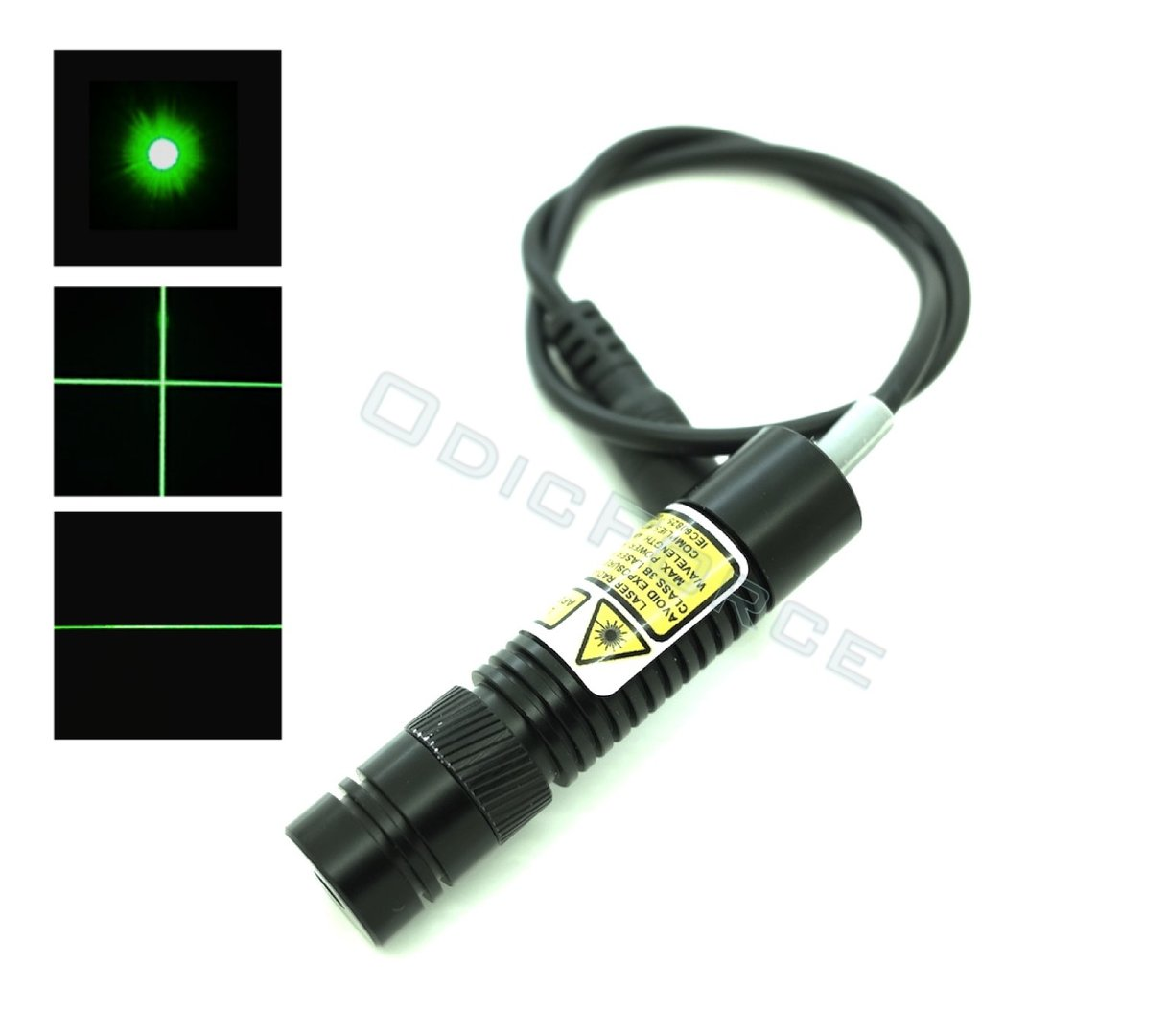 10mW Green (520nm) Adjustable Locking Focus Direct Diode Module Dot, Line and Cross (16mm, 3-5V)