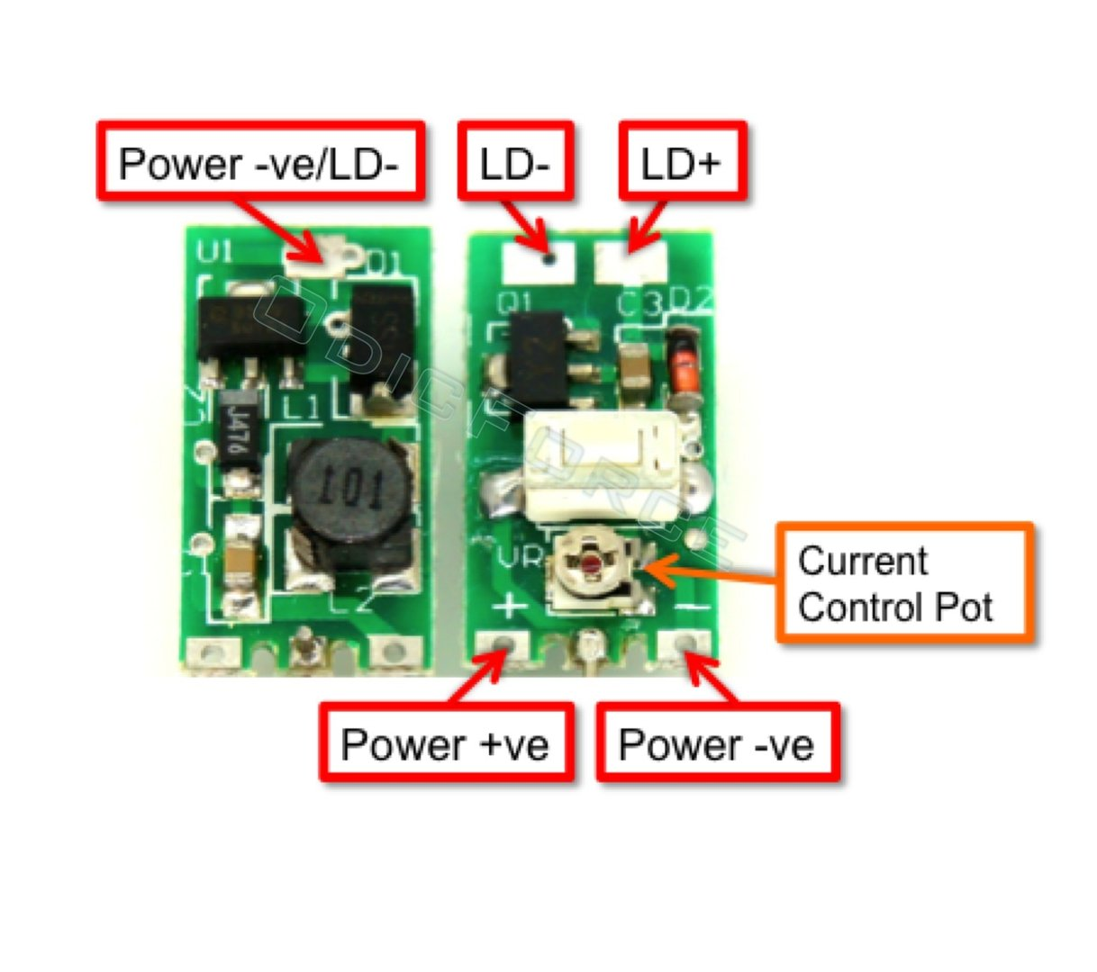 0 - 300mA Variable Current Step-up (Boost) 405nm Laser Driver Board - Hand-held Lasers and Modules