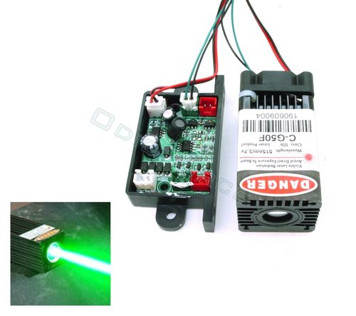 50mW Wide Beam (15mm)  515nm Green Laser Module with TTL Modulation (12V) (GC 50F))