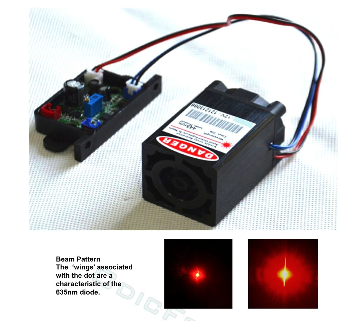 500mW Red-orange (635nm) Adjustable Focus Module with TTL  Modulation (12V) RL500