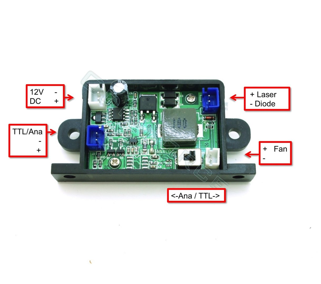 3.2A TTL (PWM) and Analogue Laser Diode Driver 12V (4W 450nm diodes)