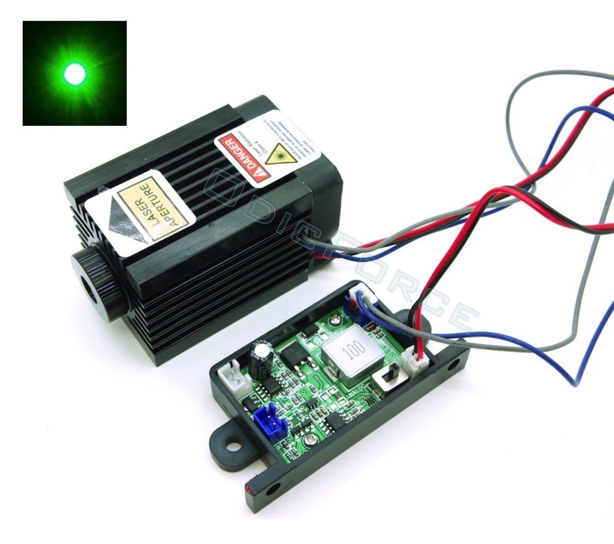 1000mW 520nm Direct Diode Green Laser Module with Adjustable Focus and TTL/Analogue Modulation (12V)