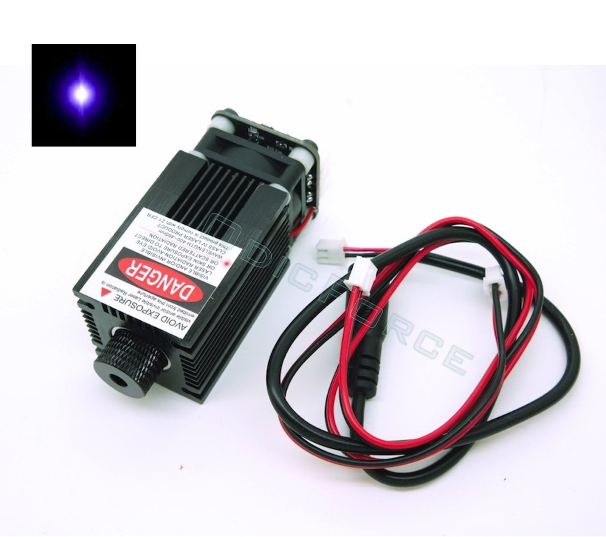 500mW 405nm Violet Focusing Laser Module (12V) with Integrated TTL (PWM) Driver