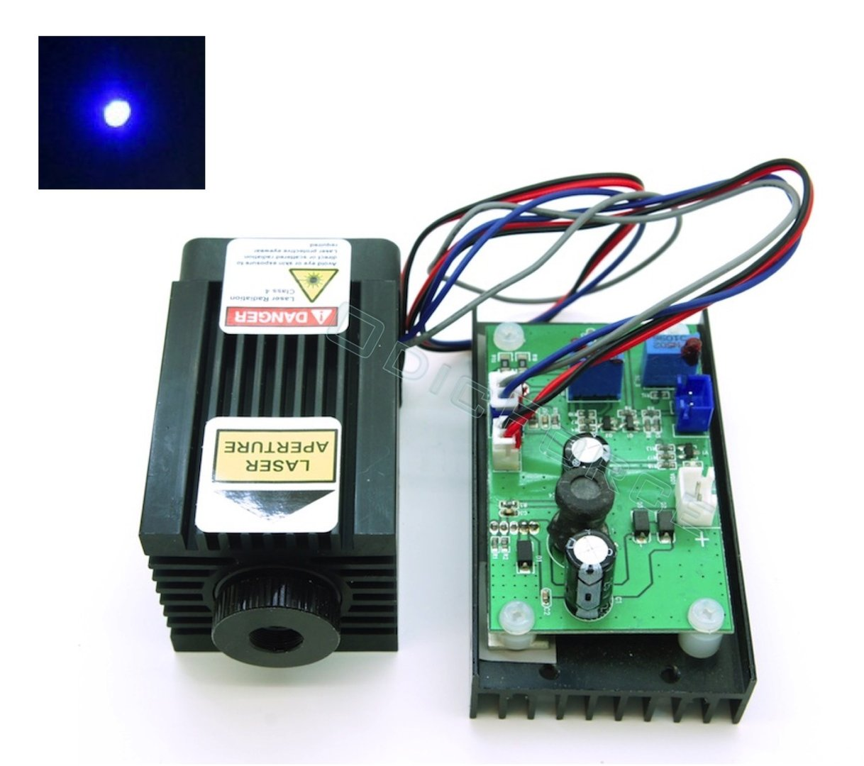 1.6W 450nm Blue TTL (PWM) Laser Module with Adjustable Focus 12V