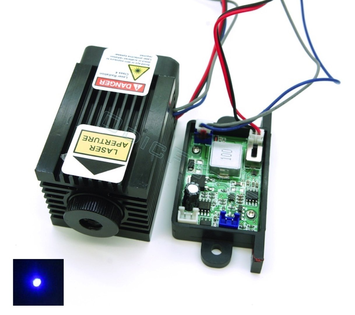 3.8W 450nm Blue Switchable TTL/Analogue Laser Module, Adjustable Focus 12V (CNC Engraving)