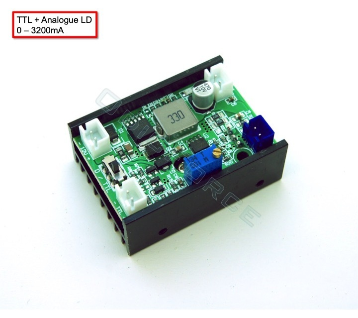 0 - 3200mA 12V Driver for 405nm, 450nm, 520nm and 635nm LD 12V with TTL/PWM and Analogue